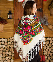 Українська хустка (125х125см), біла -  Люрекс, фото 1