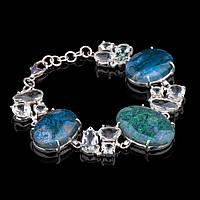 Серебряный женский браслет (агат, кварц)