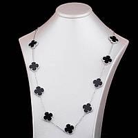 Серебряное женское колье (оникс)