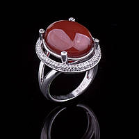 Женское серебряное кольцо (сердолик)