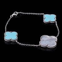 Серебряный женский браслет (перламутр, имитация бирюза, родий)