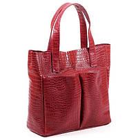 Женская кожаная сумка. Модель 02 красный кайман