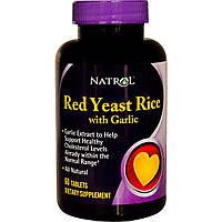Нормализатор холестирина Pure-Gar с красным дрожжевым рисом, Natrol, сделано в США, 60 таблеток