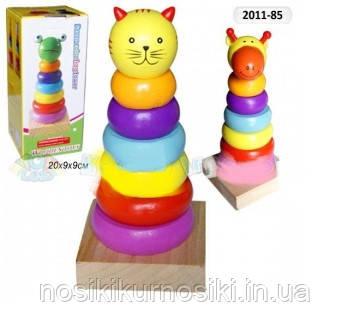 Деревянная игрушка Пирамида Животные