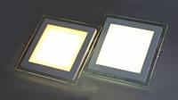 Светодиодный светильник Downlight 6Вт холодный белый квадрат (6500К) Glass Rim, фото 1