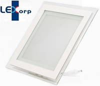 Светодиодный светильник Downlight 12Вт холодный белый квадрат (6500К) Glass Rim, фото 1