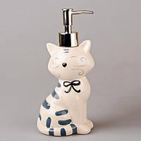 Диспенсер для жидкого мыла керамический Котик 380 мл 490-132-1