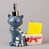 Диспенсер для жидкого мыла керамический с подставкой под губку Серый Котик 380 мл 490-140-1