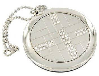 Модное карманное зеркальце на цепочке  Jardin D'ete 98-0792, серебристый