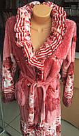 Махровый женский халат воротник шаль размер М, фото 1