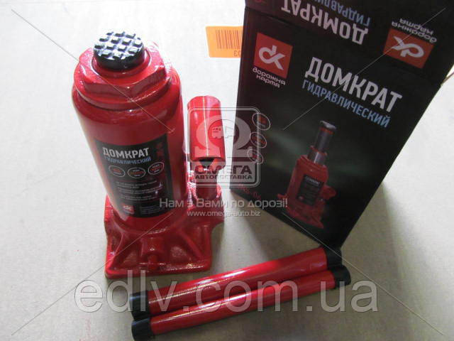 Домкрат бутылочный, 6т, красный H=200/385