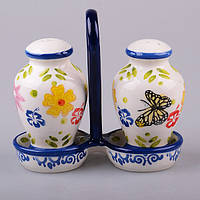 "Набор для специй 2 предмета на подставке 13 см. ""Цветы и бабочки"" керамика, синий, фото 1"