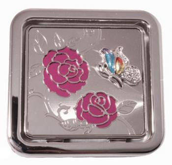 Яркое карманное зеркальце Розовый куст Jardin D'ete 98-0950, серебристый