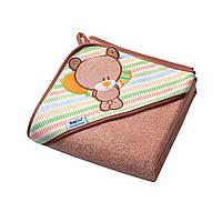 Махровое полотенце с уголком для малышей после купания (мишка), BabyOno, 100х100см