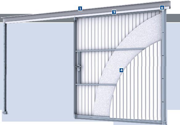 Схема элементов откатных подвесных ворот