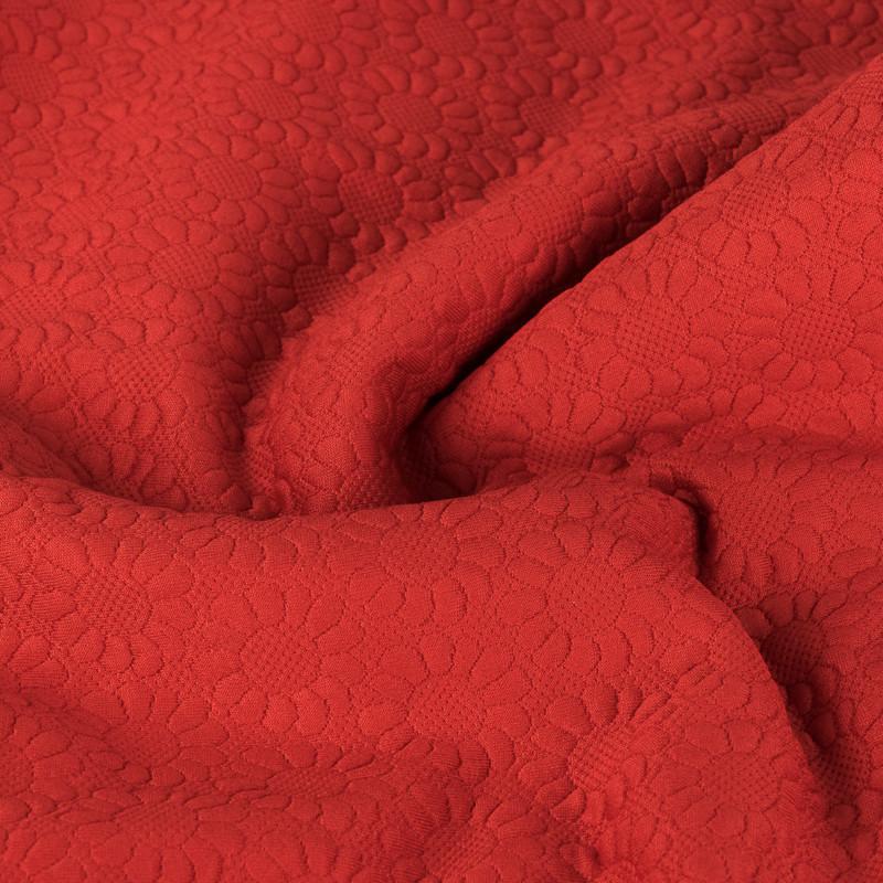 Ткань стеганая трикотаж Ромашка (Цвет Алый)