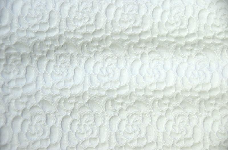Ткань трикотаж 3D Роза (Цвет Белый)