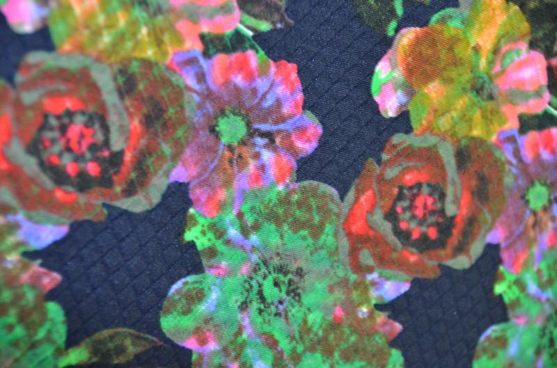 Ткань трикотаж Стеганка Цветы (Цвет Синий)