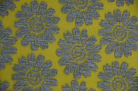 Ткань трикотаж Цветы (Цвет Желтый)