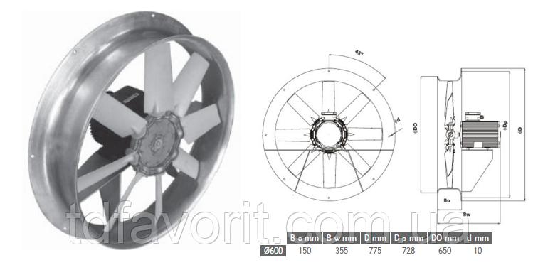 Сушильный вентилятор 600/SU/8-8/50/400