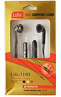 Гарнитура Lifa-310 B Earpods с переключателем Samsung-Nokia (черная)