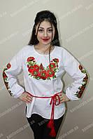 """Вышиванка женская """"Украинские маки"""" большого размера"""