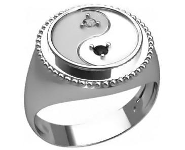 Кольцо мужское серебряное Инь-Янь 30370