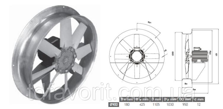 Сушильный вентилятор 900/SU/9-9/40/400