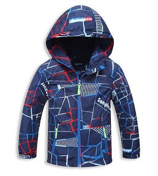 """Детская куртка для мальчика на флисе """"Спорт"""" синий"""