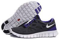 Мужские беговые кроссовки Nike Free Run Plus 2 (найк фри ран) серые