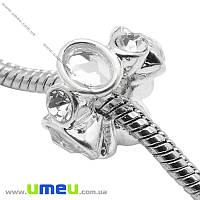 Бусина PANDORA мет. со стразами, 15х8 мм, Белая, Светлое серебро, 1 шт. (BUS-014565)