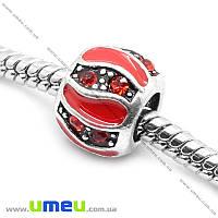 Бусина PANDORA мет. со стразами, 10х8 мм, Красная, Античное серебро, 1 шт. (BUS-014546)