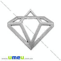 Подвеска металлическая Кристалл, Античное серебро, 29х27 мм, 1 шт (POD-014582)