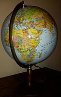 Политический глобус (без подсветки)/Физический (с подсветкой)  42 см. дерев. ножка напольный