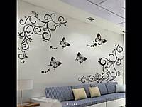 Декоративные наклейки черная бабочка 90*120 см.
