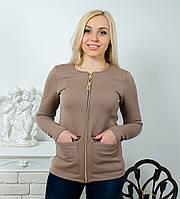 Стеганная кофта с карманами коричневая, фото 1
