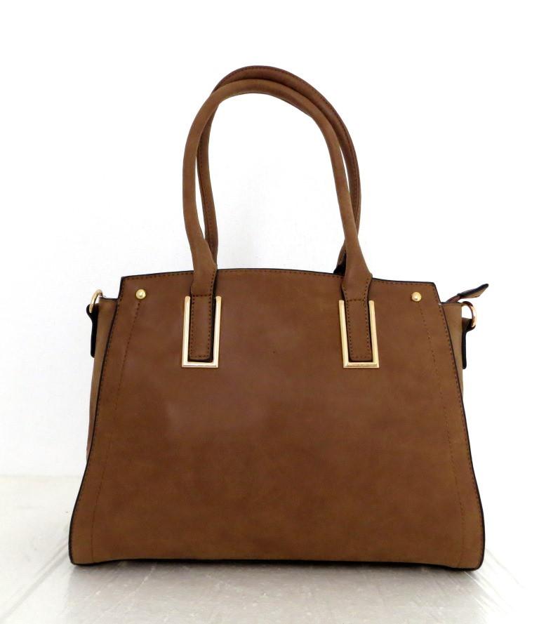 Удобная вместительная женская сумка Эко-кожа. Коричневая