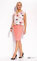 Женская летняя юбка-карандаш из хлопка персикового цвета. Модель Janett Zaps, коллекция весна-лето 2016.