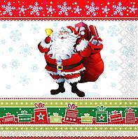 """Новогодняя салфетка Silken """"Новорічний Санта з дзвіночком"""" 3-сл 18шт 33*33см"""