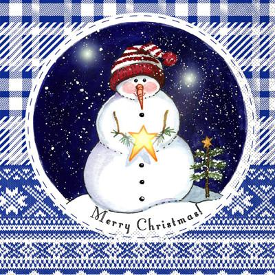 """Silken д 3-сл. """"Новорічний Сніговик в капелюшку"""" с печатью 20шт 33*33см (шт.)"""