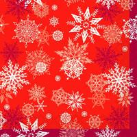 """Silken д 3-сл. """"Новорічні сніжинки"""" червоні с печатью 20шт 33*33см (шт.)"""