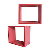 Полка настенная Кубик ДСП красный