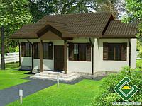 Строительство дома из сип панелей 50,20 м.кв., «СНЕЖИНКА»