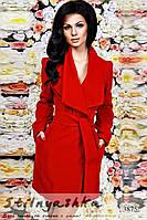 Женское кашемировое красное пальто на запах , фото 1