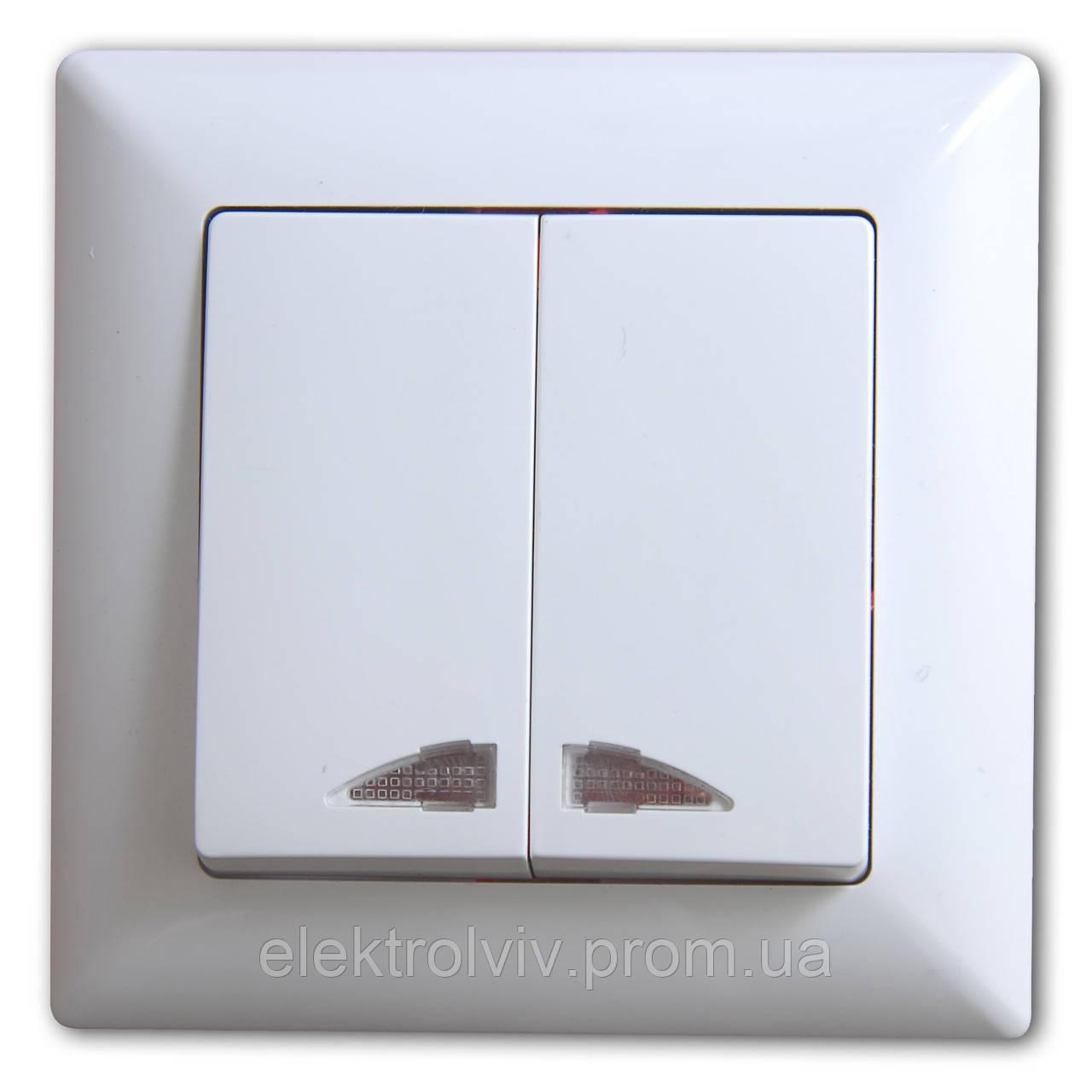 Выключатель 2-кл. с подсветкой