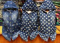 Женская стильная утепленная джинсовая безрукавка (4 принта)