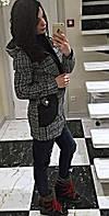 """Женское стильное пальто твид с капюшоном и отделкой """"кожи"""", фото 1"""
