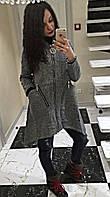 Женское стильное твидовое пальто сложного кроя с капюшоном