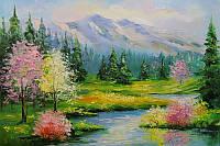 «Весенний ручей» картина маслом