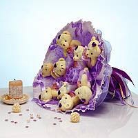 Букет из игрушек Мишки 9 в сиреневом с бантами